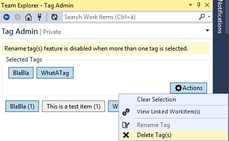 How to remove unused tags on Visual Studio Online
